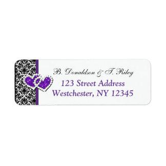 Black White Purple Damask Hearts Address Label