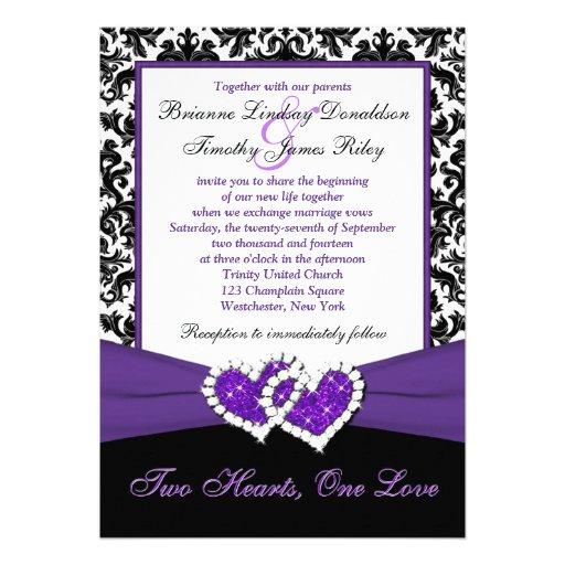 Black White Purple Damask Hearts Wedding Invite 5 X 7 Invitation Card