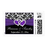 Black White Purple Damask Hearts Wedding Postage