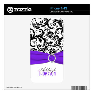 Black White Purple Damask iPhone 4/4s Skin iPhone 4 Skins