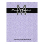 Black White Purple Damask Monogram Letterhead