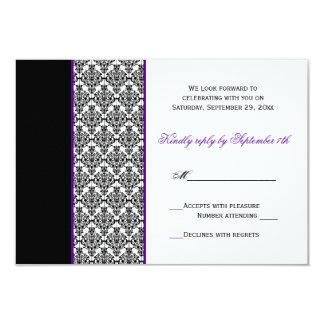 Black White Purple Damask RSVP Card