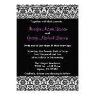 Black/White/Purple Damask Wedding Invitation