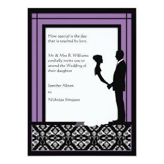 Black, White & Purple Damask Wedding Invitations