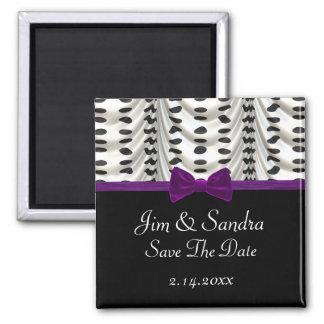 Black White Purple Draped Polka Dots Save Date Magnet