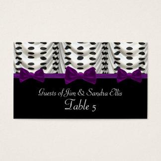 Black White Purple Draped Polka Dots Table Business Card