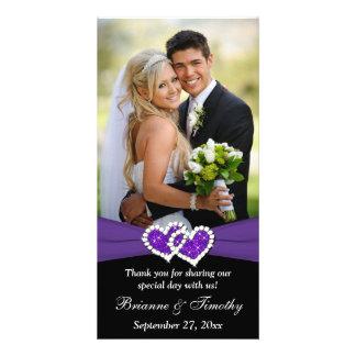 Black White Purple Joined Hearts Wedding Photocard Photo Card