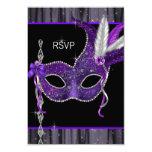 """Black White Purple Masquerade Party RSVP 3.5"""" X 5"""" Invitation Card"""