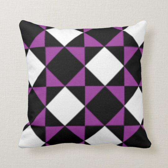 Modern Purple Throw Pillow : Black White Purple Modern Diamond Check Pattern Throw Pillow Zazzle.com