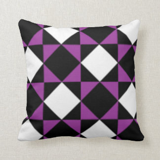 Black White Purple Modern Diamond  Check Pattern Throw Pillow
