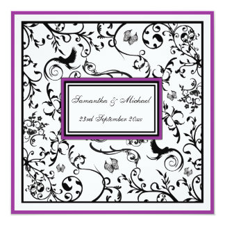 "Black, White & Purple Ornate Swirls Wedding Invite 5.25"" Square Invitation Card"