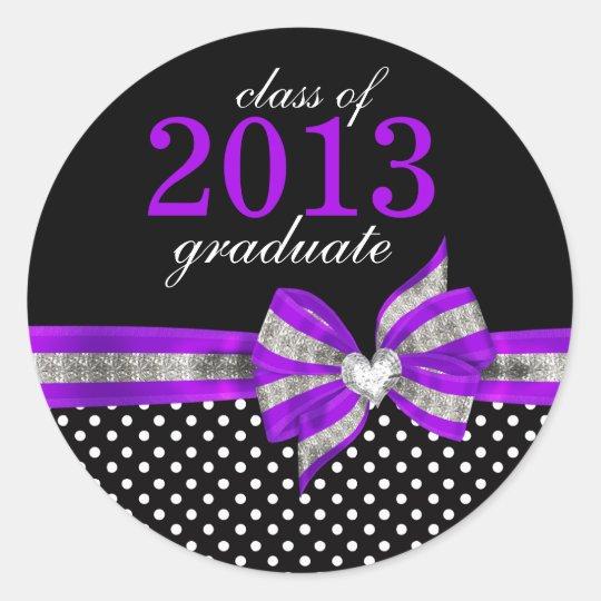 Black White Purple Polka Dot  Graduation Seal