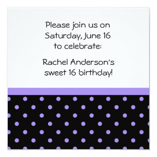 Black White Purple Polka Dots Photo Party Invite