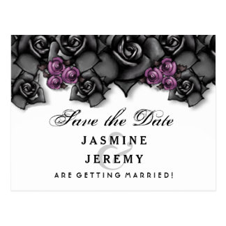 Black White Purple Roses Halloween Save Date Postcard