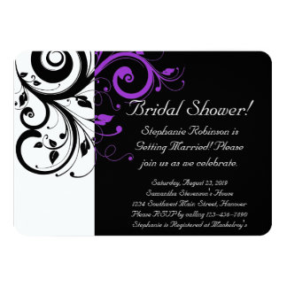 Black, White, Purple Swirl Bridal Shower / General Card