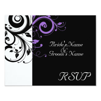 Black +White Purple Swirl Wedding Matching RSVP 4.25x5.5 Paper Invitation Card