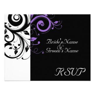 Black +White Purple Swirl Wedding Matching RSVP Invite