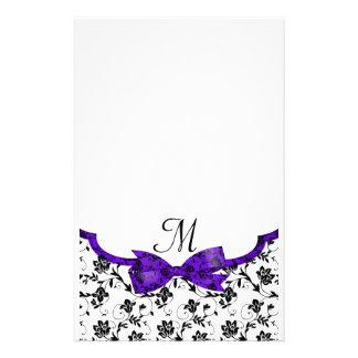 Black White & Purple Wedding Satin Floral Stationery