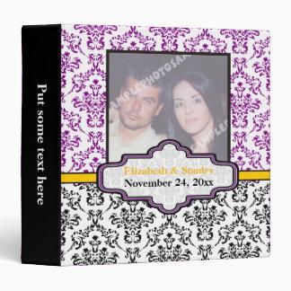 Black white purple yellow damask wedding binder binder