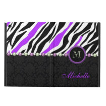 Black, white, purple zebra damask monogrammed cover for iPad air