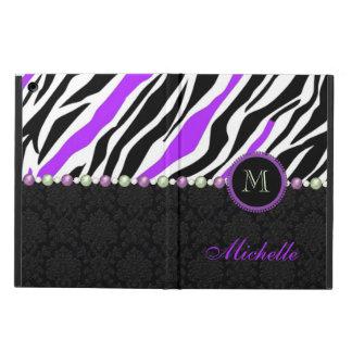 Black, white, purple zebra damask monogrammed iPad air cover