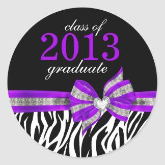 Black White Purple Zebra Graduation Seal Sticker