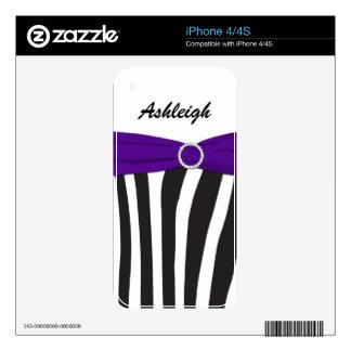Black White Purple Zebra Stripes iPhone4/4s Skin