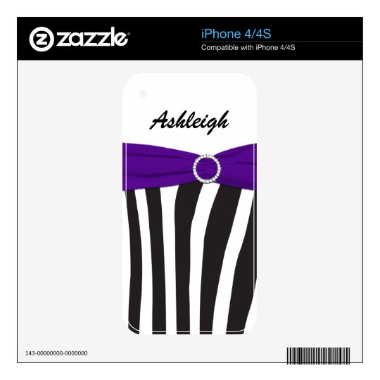 Black White Purple Zebra Stripes iPhone4/4s Skin Decal For The iPhone 4
