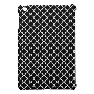 Black & White Quatrefoil Clover Pattern iPad Mini Cases
