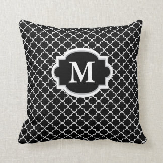 Black White Quatrefoil Monogram Pillow