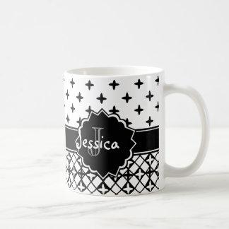 Black White Quatrefoil Monogrammed Coffee Mug
