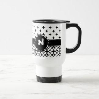 Black White Quatrefoil Monogrammed Mug
