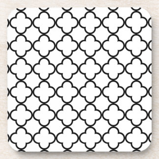 Black White Quatrefoil Pattern Beverage Coasters