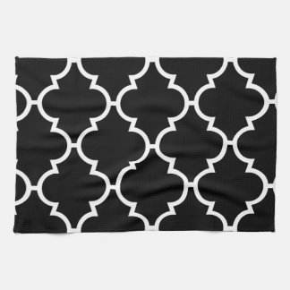 Black White Quatrefoil Pattern Hand Towel