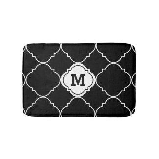 Black White Quatrefoil Pattern Monogrammed Bath Bath Mat