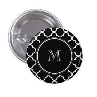 Black White Quatrefoil Pattern, Your Monogram 1 Inch Round Button