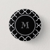 Black White Quatrefoil Pattern, Your Monogram Button