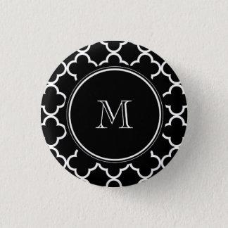 Black White Quatrefoil Pattern, Your Monogram Button