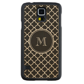 Black White Quatrefoil Pattern, Your Monogram Carved Maple Galaxy S5 Case
