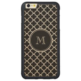 Black White Quatrefoil Pattern, Your Monogram Carved Maple iPhone 6 Plus Bumper Case