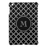 Black White Quatrefoil Pattern, Your Monogram Cover For The iPad Mini