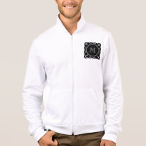 Black White Quatrefoil Pattern, Your Monogram Jacket