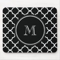 Black White Quatrefoil Pattern, Your Monogram Mouse Pad
