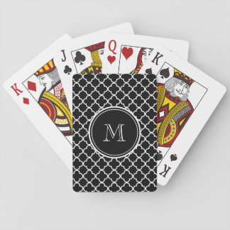 Black White Quatrefoil Pattern, Your Monogram Poker Deck