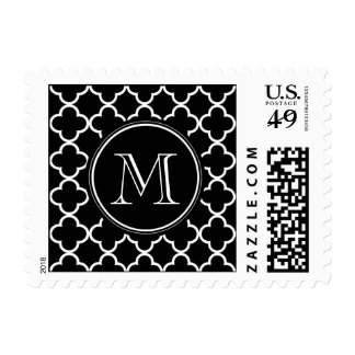 Black White Quatrefoil Pattern, Your Monogram Postage Stamp