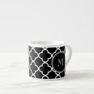 Black White Quatrefoil Pattern, Your Monogram Espresso Mugs