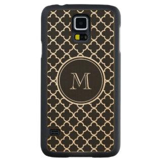 Black White Quatrefoil Pattern, Your Monogram Carved® Maple Galaxy S5 Slim Case