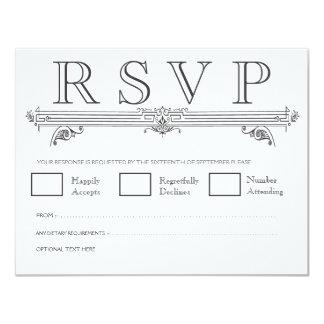 Black & White Quatrefoil Wedding RSVP Cards