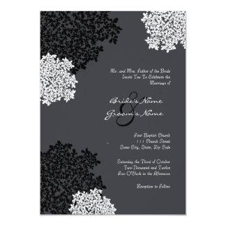 Black & white Queen Anne's Lace Wedding Invitation