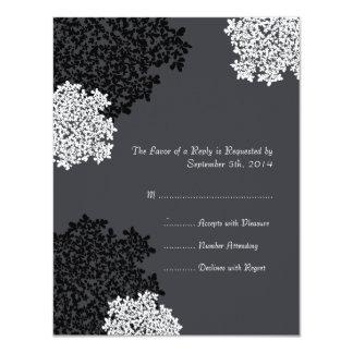 Black & white Queen Anne's Lace Wedding RSVP Card